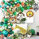 GuassLee Jungle Safari Theme Party Ballon Guirlande Kit - 151-pack met dierenballonnen en palmbladeren voor kinderen Jongens Verjaardagsfeestje Babyshower Decoraties