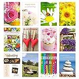Set 12 Geburtstagskarten Glückwunschkarten zum Geburtstag mit Umschlag. Grusskarte Geburtstagskarte Happy Birthday Mann Frau