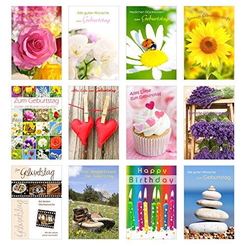 Set 12 Geburtstagskarten Glückwunschkarten zum Geburtstag mit Umschlag. Grusskarte Geburtstagskarte Happy Birthday Mann Frau (Doppelkarten/Klappkarten mit Briefumschlag)