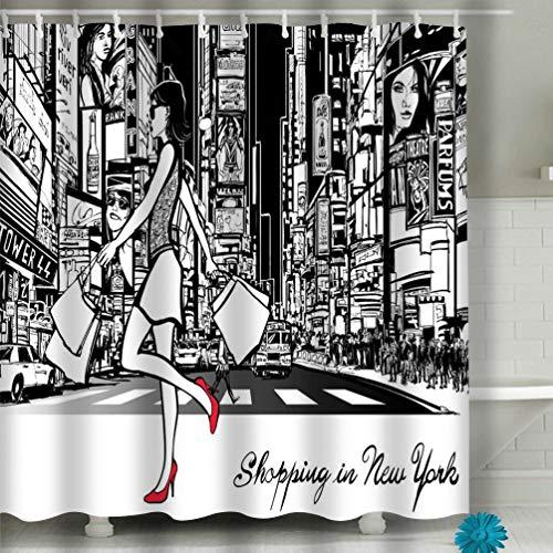 Xunulyn Beach Shower Curtain Shopping Times Square New York Night All ads Imaginary Painting Fabric Bathroom Decor 60 X 72 Inch