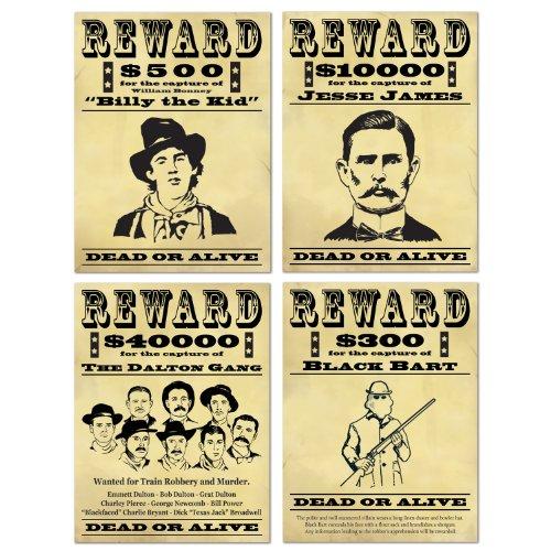 Wanted Schild-Aufsteller, 4 Stück
