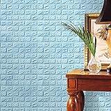 PE Schaum 3D Wandpaneele Selbstklebend, 3D Ziegel Tapete, Brick Pattern Wallpaper für Schlafzimmer Wohnzimmer Moderne tv DIY Wandaufkleber LuckyGirls (Himmelblau)