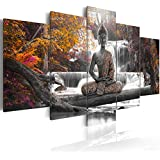 Cuadro 200x100 cm - 3 tres colores a elegir - 5 Partes - Formato Grande - Impresion en calidad fotografica - Cuadro en lienzo tejido-no tejido - Buda paisaje Naturaleza cascada �rbol je rosado naranja c-A-0021-b-p 200x100 cm B&D XXL