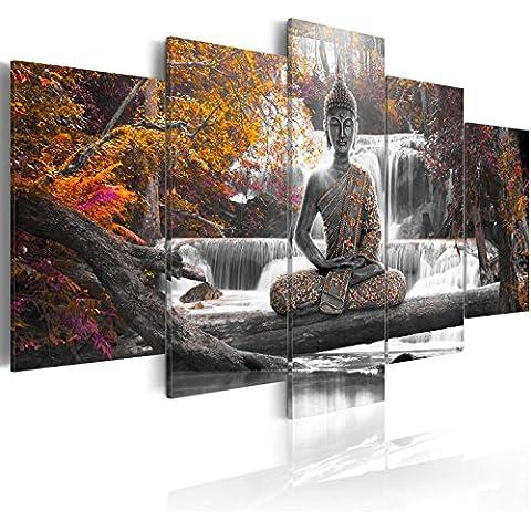 Cuadro en Lienzo 200x100 cm - 3 tres colores a elegir - 5 Partes - Formato Grande - Impresion en calidad fotografica - Cuadro en lienzo tejido-no tejido - Buda paisaje Naturaleza cascada �rbol je rosado naranja c-A-0021-b-p 200x100 cm B&D