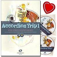Accordion Trip bande 1–39chansons et danses de l'Europe pour 1–2akkordeons–Accordéon Notes avec 2CD et coloré Cœur Note Pince