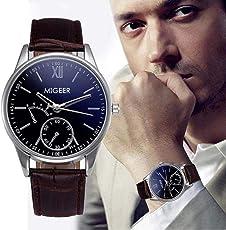 Souarts Herren Armbanduhr Einfaches Design Geschäfts Casual Quarz Uhr mit Batterie Schwarz Band Weiß Zifferblatt