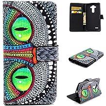 Dokpav® Teléfono Celular Cuero Funda de LG G4, Ultra Delgada Fina Cubierta una función Con Ranura Para Tarjetas Soporte Protección Flip Case Cover de Cuero de la Piel PU Carcasa para LG G4 (Ojos Verdes)