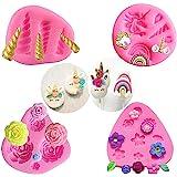 Moule en silicone Mini Licorne, Licorne Oreilles Corne Arc-En-Fleurs et feuilles, Moule à Chocolat Fondant Cupcake Toppers po
