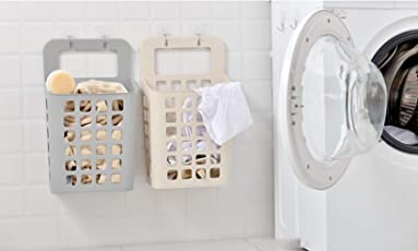 Wall Hanging Laundry Basket by House of Quirk for Vegetable Storage, Bathroom Sucker Hanging Laundry Basket - Set of 2 (Multicolor)
