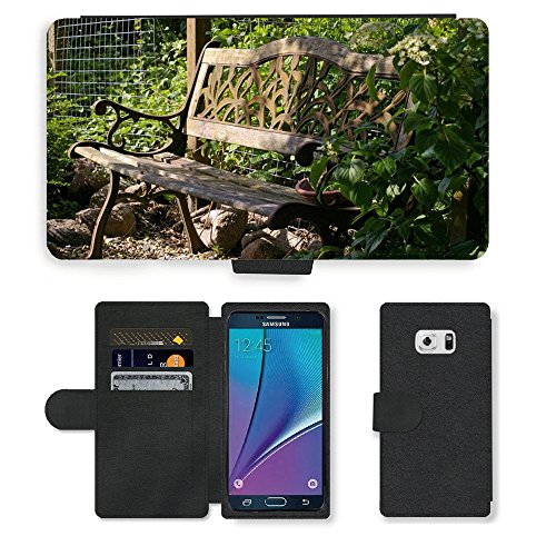 PU Leder Wallet Case Folio Schutzhülle // M00290833 Garten-Bank Bank Lehne Sitz Holz // Samsung Galaxy Note 5 V (Not fit S5)