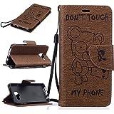 Chreey Coque Samsung Galaxy A3(2016) / SM-A310F (4.7 pouces) (DON'T TOUCH MY PHONE),PU Cuir Portefeuille Etui Housse Case Cover ,carte de crédit Fentes pour ,idéal pour protéger votre téléphone