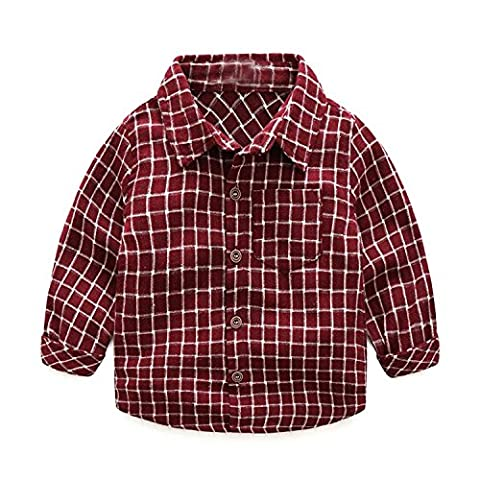 Fulltime(TM) 0-24 Months Fashion Baby Boy Wear Plaid Single-breasted Blouse Tops Shirt Kids Clothes (24 months, Red)