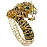 TENYE Cristal Autrichien Émail Party Tigre Rugissant Animal Bangle Bracelet Brun