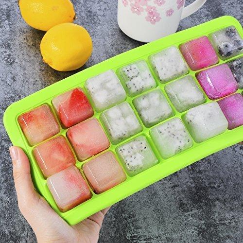 Newcomdigi stampo cubetti ghiaccio con coperchio stampo per ghiaccio silicone vaschetta ghiaccio con coperchio cibo congelatore contenitore ghiaccio con coperchio box ghiaccio verde