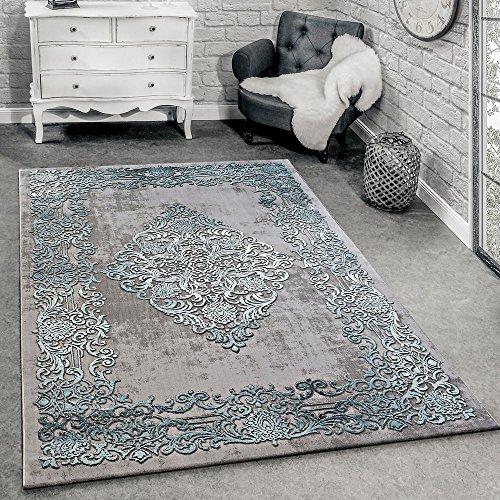 Paco Home Alfombra Diseño Moderna Salón Alfombras 3D Estampado Barroco Gris Turquesa Crema, tamaño:120x170 cm