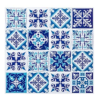 Self Adhesive Tile Stickers, Wall Stickers Transfer Kitchen/Bath Art Decor, Moroccan Style Wallpaper Stick on Tiles 10