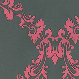 Dutch Wallcoverings 7203-6 Damask Wallpaper - Pink/Grey