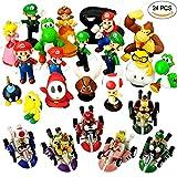 24pièces de Super Mario Bros jouet Figure Playsets–Mario Kart Pull Back voitures–gâteaux pour enfants