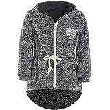 Mädchen Kapuzen Jacke Pulli Pullover Glitzer Sweatshirt 21489, Farbe:Schwarz, Größe:128