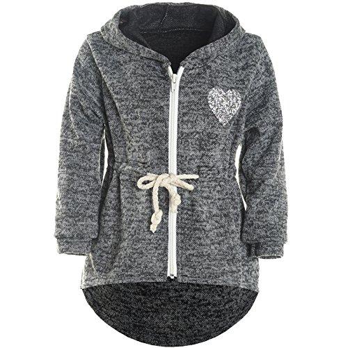 BEZLIT Mädchen Kapuzen Jacke Pulli Pullover Glitzer Sweatshirt 21489 Schwarz Größe 128 Kapuze Pullover Jacke