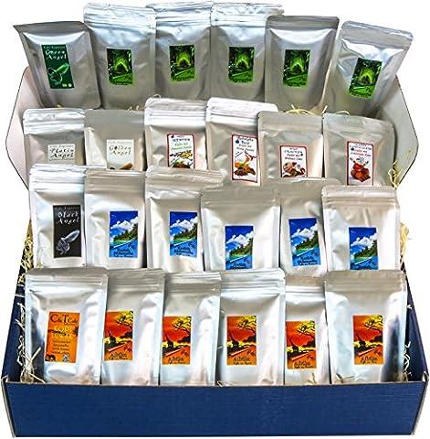 Länderkaffee aus aller Welt Buntes Probierpaket 24 leckere Sorten je (Ganze Bohnen) mit Kopi Luwak Kaffee (von freilebenden