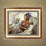 Logres 5D-Strassstein-Gemälde/Stickbild, Motiv: schöne Frau mit Leopard, Bastel-Set, Kreuzstich, Harzstrasssteine