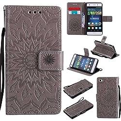 BoxTii Coque Huawei P8 Lite, Etui en Cuir de Première Qualité [avec Gratuit Protection D'écran en Verre Trempé], Housse Coque pour Huawei P8 Lite (#2 Gris)