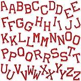 52 Piezas Parche de Planchar en Letras Apliques de Alfabetos de Costura con Letra Adhesiva Planchada Parche Decorativa de Reparación Bordado de A-Z para Zapatos Sombrero Bolsa Ropa (Rojo)