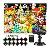 LED Proiettore Luci Natale, Proiettore Luci di Halloween 12 Tipi Temi Sostituibile Diapositive Impermeabile Multicolore Lampada di Proiezione con Wireless Telecomando Spotlight Proiettore di Luce Rota