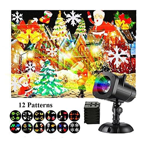 Weihnachten, Halloween LED Effektlicht mit 12 wechselbare Musters für wasserdicht Outdoor-Garten-Lampe Projektor Garten Dekoration Außenbeleuchtung für Weihnachten Halloween Hochz (Outdoor-halloween-projektor)