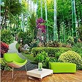Fushoulu Individuelle Fototapeten3Dchinesischen Stil Garten Bambus Wald Natur 3D Wandmalereien Wohnzimmer Fresken-350X250Cm