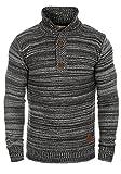 !Solid Madden Herren Strickpullover Troyer Feinstrick Pullover Mit Stehkragen und Knopfleiste Aus 100% Baumwolle, Größe:L, Farbe:Black (9000)