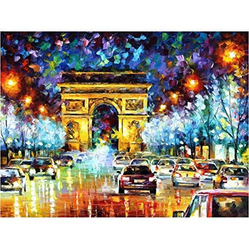 WHOOPS-Beauty Night Scene Francia Parigi Auto Digital Oil Painting By Numbers Dipinti A Mano Immagini a Parete per Soggiorno Decorazione della Casa Frameless, 40 * 50 Cm