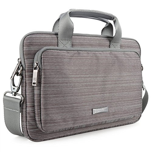 Laptophülle 13,3 Zoll, Evecase 13,3 Zoll Universal Neoprene Gepolsterte Notebook Briefcase Laptop Schutzhülle mit Anzug-Gewebe/Ablösbaren Träger/Handgriff/Frontfach/Zubehörfächer - Grau