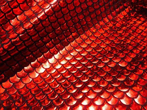 Jersey sirène Échelle Tissu Poisson Tale Foil - Spandex Lycra Tissu élastique - 2 directions - 150 cm de large - Rouge (au mètre)