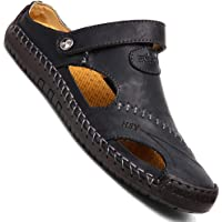 Mens Casual Closed Toe Leather Outdoor Sports Sandals Beach Slippers Flat Shoes
