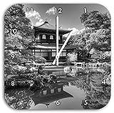 Ginkaku-ji-Tempel in Kyoto Kunst B&W, Wanduhr Durchmesser 28cm mit schwarzen spitzen Zeigern und Ziffernblatt, Dekoartikel, Designuhr, Aluverbund sehr schön für Wohnzimmer, Kinderzimmer, Arbeitszimmer
