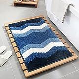 Wjsw Geometrisches Muster Super Weicher Hochflor Saugfähig Antirutschmatte Teppich,Bodenheizung Innen und Außen Eingang Fußmatte,Anwendbar auf 45 * 65Cm Zu 50 * 80 cm Bereich,Blue,50 * 80Cm