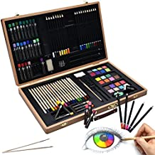 Artina set de pintura 89 piezas Génova Maletín madera ceras, lápices de colores, acuarelas alta calidad regalo ideal
