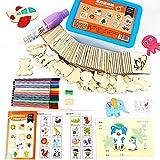 Aolvo Schablone für Kleinkinder, Babys, Kinder-Spielzeug-Set, Schablone, mit 12Wasserfarben und Spielzeug,