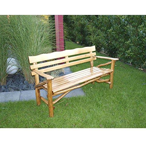 Gartenbank MOSEL 3 Sitzer, hochwertiges Eichen Rundholz (Knüppelholz)
