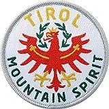2 x Abzeichen gewebt 60 mm / Tirol Mountain Spirit, Österreich / Tiroler Berge Alpen Adler Bergsteigen Wandern Reise / Aufnäher Aufbügler Flicken Sticker Patch / Reiseführer Wanderführer Buch Karte