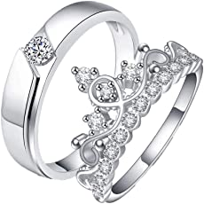 Queen & King Sterling Silver Plated Zirconia Adjustable (Resizable) Couple Rings