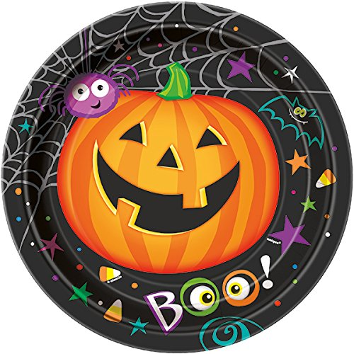 8 Stk. Partyteller Pumpkin Pals 23cm - Pappteller Halloween Kürbis Party Spooky - Essen Halloween-party Spooky
