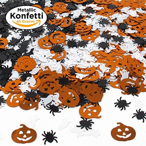 Halloween XXL Konfetti-Mix - viel glänzendes Metallic Konfetti mit Geist, Spinne & Kürbis - ideale Tisch-Deko & Party-Dekoration für Gruselige Halloween-Partys