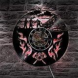 1 pompiere salvataggio LED applique da parete disco in vinile orologio da parete vigili del fuoco logo casco ascia croce silhouette LED luce