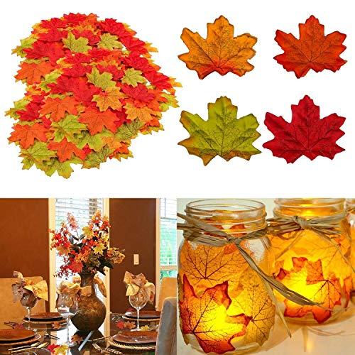 Herbst Dekoration Ahornblatt, Muscccm 400 Stück Verschiedene gemischte Herbst farbige künstliche Ahornblätter für Hochzeiten, Thanksgiving, Veranstaltungen und Outdoor Maple Leaf Cafe Dekoration