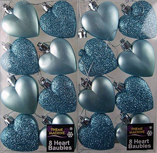 16 Stück Glitter, Matt, eisblau Herzen Baumkugeln Weihnachtsdekoration - Set Christmas Tree Nativity