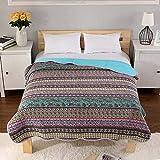 Warmcasa Vintage 100% Cotton Bedspread Green Super Soft Warm Quilted Bedspread Living Room Bed Sheet Sofa Blanket 71' x 86' (Vintage 2, 180 * 220cm)