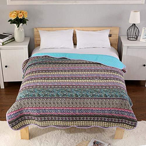 Warmcasa copriletto bed cover fatto in cotone trapunta leggera per letto matrimoniale (blu, 230_x_250_cm)